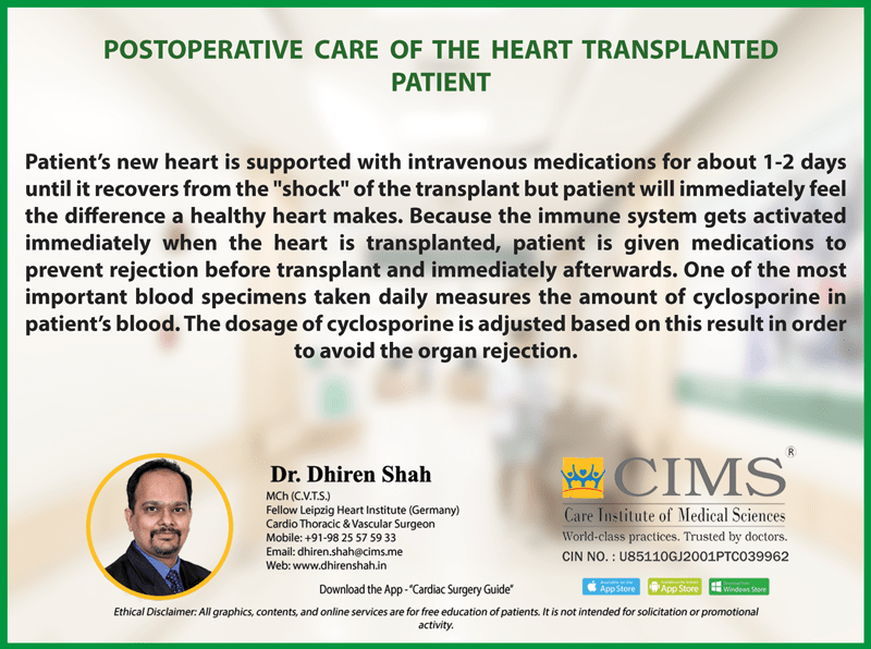 Postoperative care of the heart transplanted patient