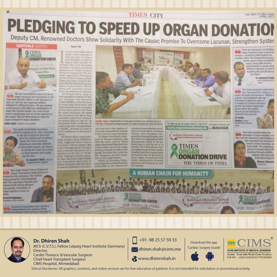Times Of India organized a panel discussion on how to increase the organ donation in Gujarat and how to make it no 1 in India.