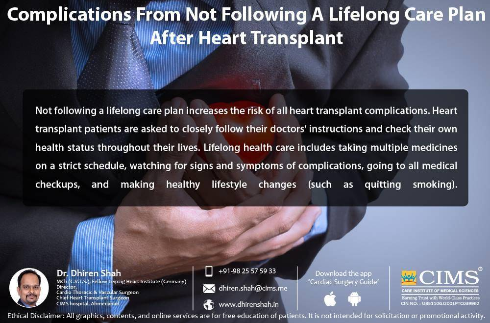 Complications from not following a lifelong care plan after heart transplant.