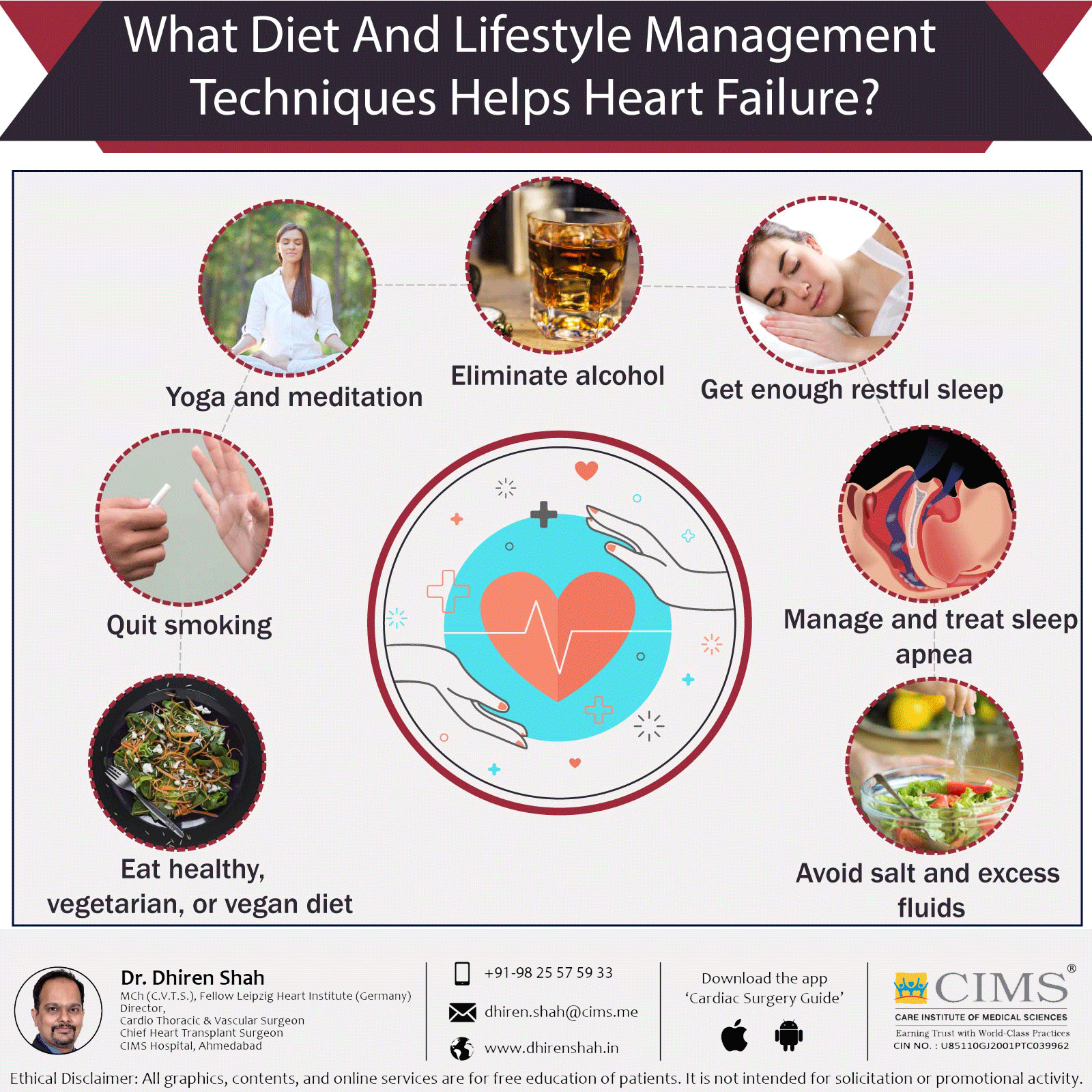 What diet and lifestyle management techniques helps heart failure?