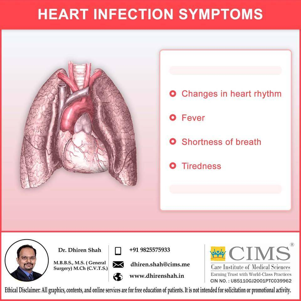 HEART INFECTION SYMPTOMS.