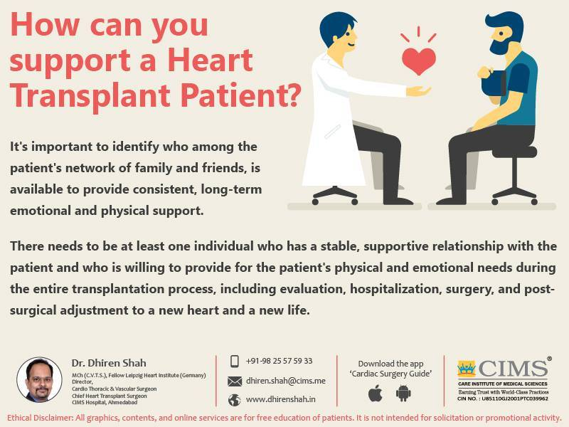 How can you support a heart transplant patient?