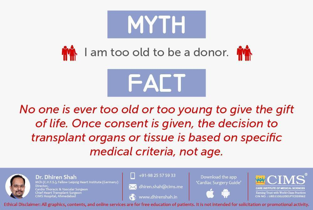 Myth vs fact about organ donation.