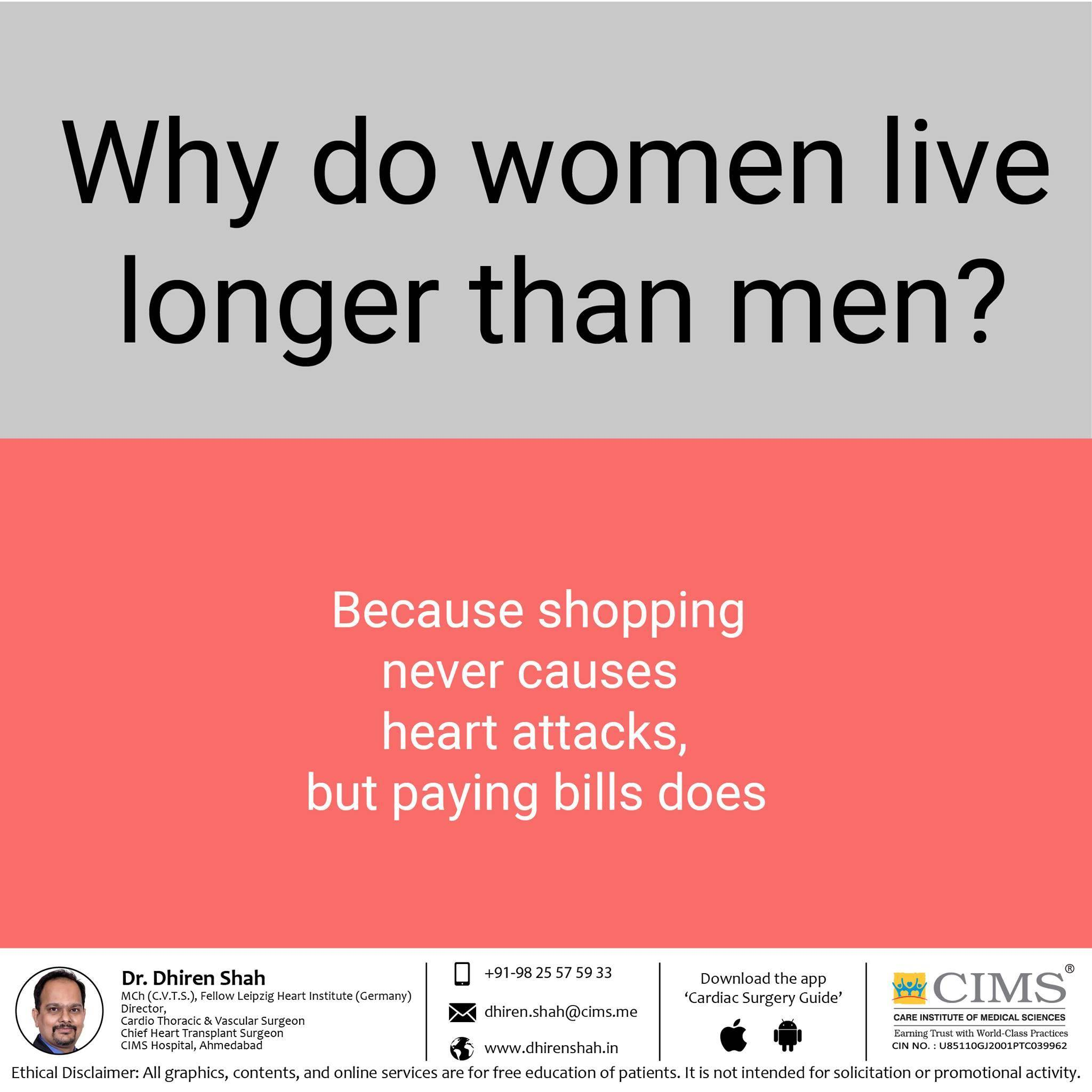 why do woman live longer then men