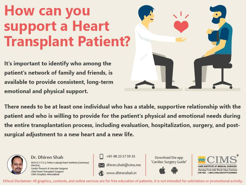 How can you support a heart transplant patient