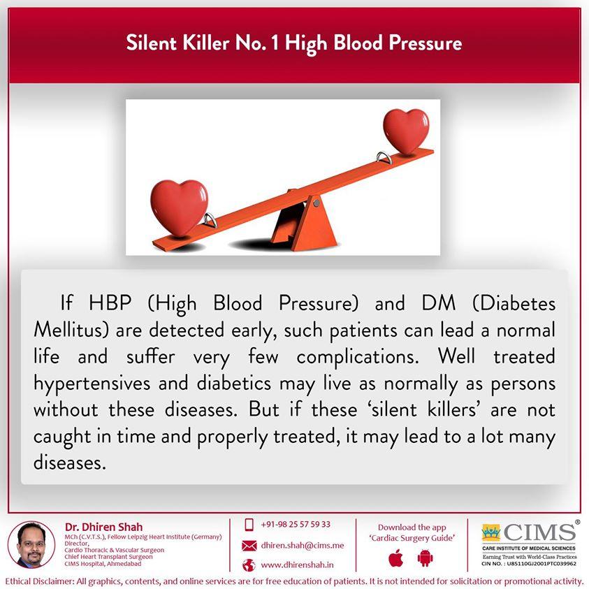 Silent killer No.1 high blood pressure.