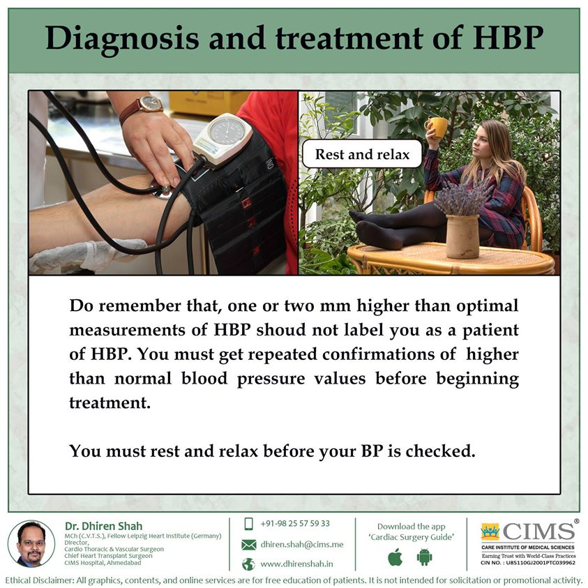 Diagnosis and treatment of HBP.