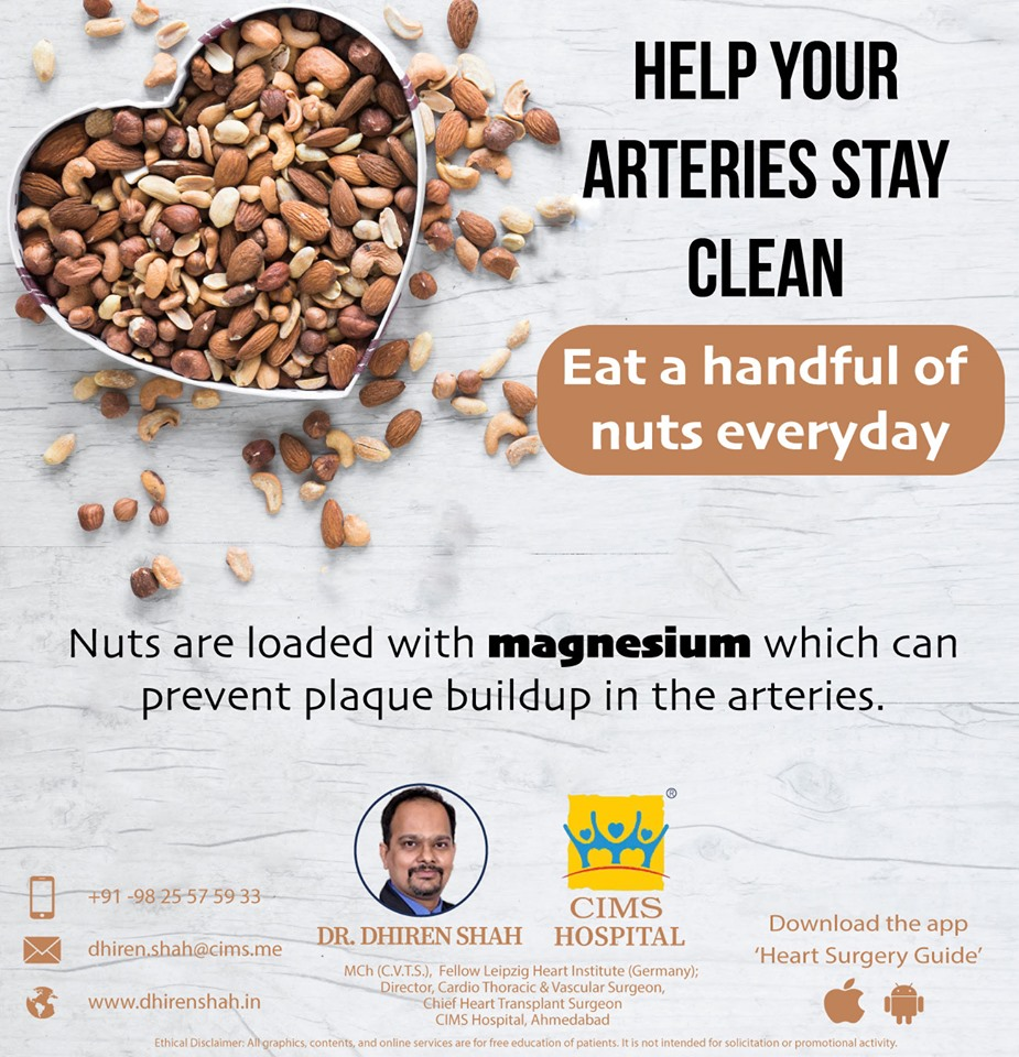 Help your arteries stay clean, eat a handful of nuts everyday!